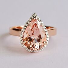 MORGANITE RING 3.82cts GENUINE DIAMONDS 18K ROSE GOLD SIZE O NEW VALUATION $5500
