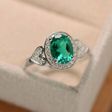 1.65 Ct Oval Cut Emerald Diamond Wedding Ring 925 Sterling Silver Size M N P
