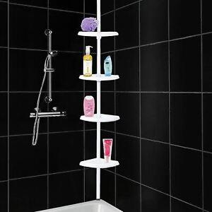 4 TIER BATHROOM SHOWER HANGING CORNER 4TIER SHELF CADDY STORAGE RACK RAIL