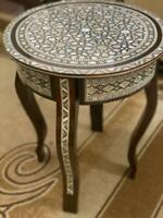 """Antique wood End Table Inlaid Mother of Pearl (16"""")"""