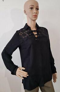 AJC Damen Bluse mit Spitze Langarm Blusenshirt Schwarz Größe 36