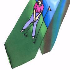 LAUREN MERYL TIE HAND PAINTED GOLF COURSE GOLFING FLAG Silk Necktie Ties I7-675