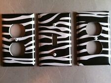 ZEBRA LIGHT SWITCH COVER PLATE ANIMAL PRINT SAFARI ZOO SET OF 3 JUNGLE DECOR