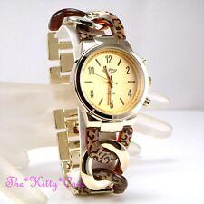 Ladies Gold Plt Twist Link Curb Chain Safari Horn Cheetah Leopard Bracelet Watch