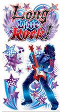 ROCKER LONG LIVE ROCK wall stickers 6 decals guitars star musical note glitter