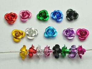 1000 Mixed Colour Aluminum Metal Rose Flower Beads 6mm