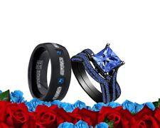 His MeteoriteTitanium and Her Cz Blue Black Plated engagement Wedding Ring set