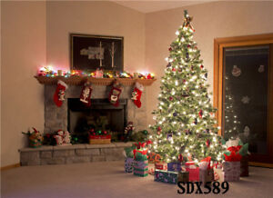 9x6FT Polyester Studio Backdrop Background Christmas Tree And Fireplace Decor