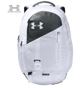 Under Armour UA Hustle 4.0 Backpack White Gray Laptop School Bag 1342651-100 New