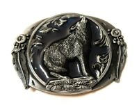 Howling WOLF antique silver midnight blue color outdoors man hunting belt buckle