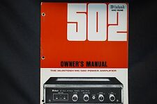 McIntosh MC 502 Power Amplifier Owners Manual Specs Instruction 3 hole punched