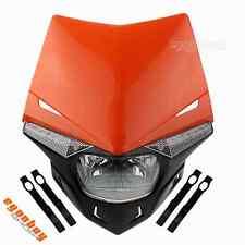For KTM Street Fighter Dirt Bike Dual Sport Universal Headlight Head Lamp Orange