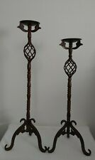 Pair Wrought Iron Floor Candle Holders Set 2 Metal Tall Stands Rustic  Ornate