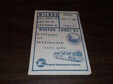 WINTER 1980/1981 CHICAGO RTA ROUTE 421/422/423 WILMETTE BUS SCHEDULE