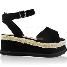 NEW WOMEN LADIES MID WEDGE PLATFORM ESPADRILLES ANKLE BUCKLE SHOES SANDALS SIZE