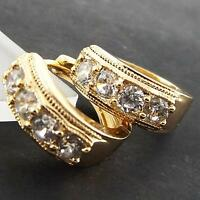 EARRINGS HUGGIE HOOP GENUINE REAL 18K YELLOW G/F GOLD ANTIQUE DIAMOND SIMULATED
