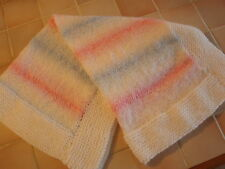 A Lovely Hand knitted  Acrylic Baby Blanket-crib WHITE/PINK/BLUE With WHITE EDGE