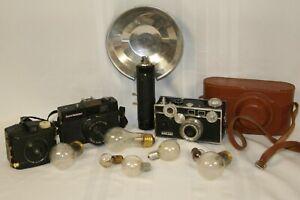 Lot of Vintage Cameras & Flash Bulbs Baby Brownie Argus 35 mm Range Finder