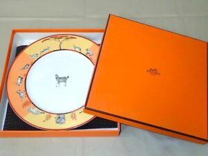 Hermes Africa Dinner Plate Orange Tableware Dish Zebra Animal Ornament New 11 in