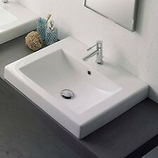 Scarabeo Scarabeo8025/A-Threehole 8025/A-Three Hole White Ceramic Bathroom Sink