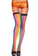 Arcoiris negro Top Liso REJILLA Muslo Hi Medias sexy diseño Lencería P4983
