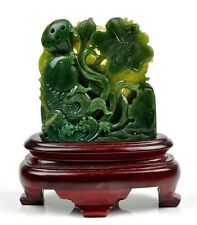 Natural Green Nephrite Jade Lotus Flower & Koi Fish Statue Sculpture Carving
