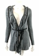 Simply Vera Wang Womens Cardigan Sweater Duster Size XS Gray Tie Waist