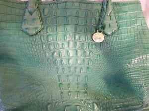 Brahmin Croco Embossed Leather Handbag Mint Gold Teal Jade Green Rare Gift HTF
