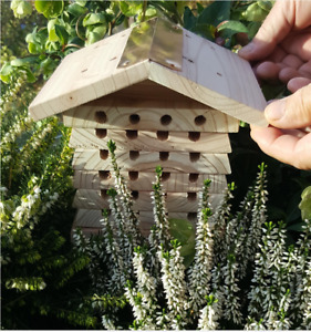 Wildlife World Wood Solitary Bee Hive Leaf Cutter Red Mason Bee Blue Orchard Bee