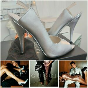 GUCCI Tom Ford Silver Spring Summer 2003 Ad Campaign  Runway Shoes Heels Size 38
