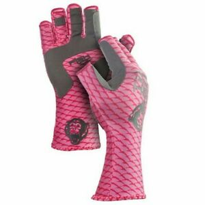 Fish Monkey FM11-PNKSCALE-S Half Finger Guide Womens Pink Small Fishing Gloves