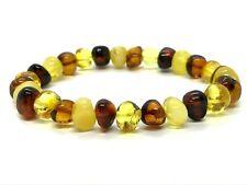 AMBER BRACELET Natural Baltic Amber Polished Colorful Beads Elastic 9,5g 13258