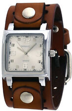 Nemesis BB516S Men's Brown Wide Leather Cuff Band Analog Silver Dial Watch