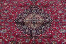 Vintage Traditional Floral RUBY RED Kashmar Area Rug Hand-Knotted Wool 10'x13'