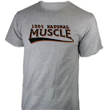 100% NATURAL MUSCLE Strength Training Bodybuilding Athletics Sport Grey T-Shirt