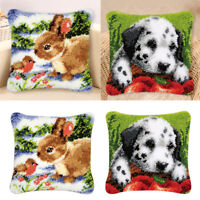 2 Sets Latch Hook Rug Making Kits Rabbit Dog Cushion Cover Embroidery Gift