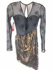 Mirella Leotard Dance Dress Sz S Small Womens Lace Sheer Long Sleeve Black Nwt