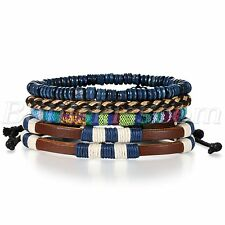 4pcs Mens Handmade Retro Twisted Multilayer Leather Bracelet Cuff Set Adjustable