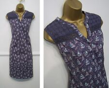 MANTARAY blue cotton sailboat+broderie anglaise pattern summer shift dress 12-14