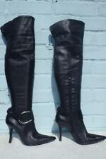 ~ DUNE LEATHER BOOTS ~ Ladies Size 5 38 ~ SEXY OTK PULL ON BLACK LEATHER BOOTS