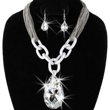 Cz Crystal Chain Link Micro Pave Necklace Pendant Dangle Drop Earrings Set NEW