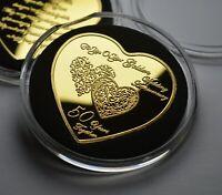 50th GOLDEN WEDDING ANNIVERSARY Heart Shaped Commemorative. Gift/Present, Gold