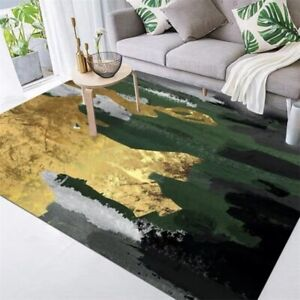 Abstract Emerald Green Gold Rug Carpet Rectangle Anti-Skid Floor Mat Washable