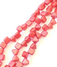 25 Czech Glass Square Pyramid Beads 2 Hole-6mm Paatel Pearl Coral Red Stud Beads