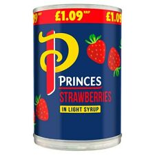 PRINCES / PRINCESS Strawberries In Light Syrup 410g x 6 Tins Cans LONG DATE