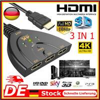 3 in 1 HDMI Umschalter Switch Splitter Verteiler Kabel TV Adapter HD 1080P 4K DE