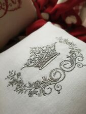 CUSHION PERSONALISED EMBROIDERY PRESENT WEDDING GIFT FRENCH LINEN MONOGRAM