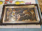 Vintage Egyptian Metal Hand engraved  Copper, Silver Brass  Battle scene   tray