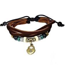 Brazalete Pulsera de cuero Surfista Marrón Oscuro Beads Amuleto Bali Estilo