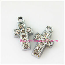 6Pcs Dull Silver Lovely Cross Crystal Charms Pendants 10.5x18.5mm